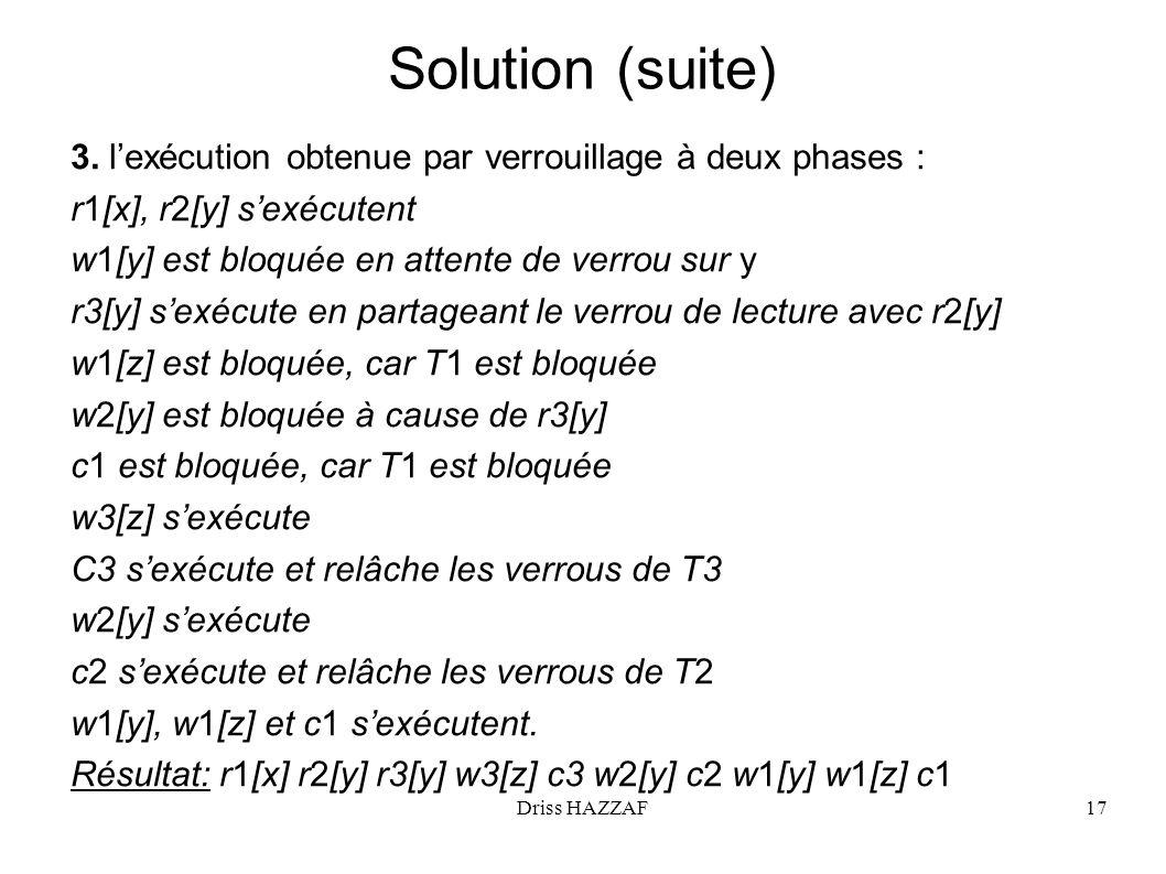 Solution (suite) 3. l'exécution obtenue par verrouillage à deux phases : r1[x], r2[y] s'exécutent.